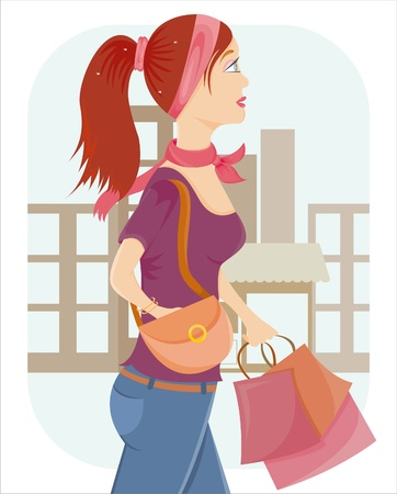 beautiful shopping girl with a lot of bags Stock Vector - 9375552