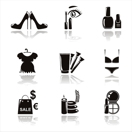 set of 9 black beauty and fashion icons Illustration