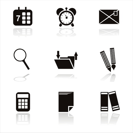 set of 9 black office tools icons Vector