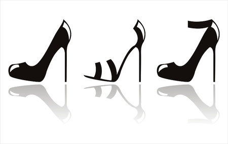 legs woman: set of 3 black shoes icons Illustration
