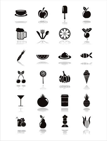 eating food: set di icone di cibo nero 21 Vettoriali