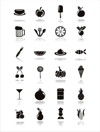 set of 21 black food icons Vector