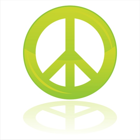 peace and love: glossy peace symbol isolated on white