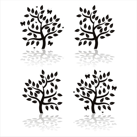 set of 4 black trees with butterflies Stock Vector - 9424981