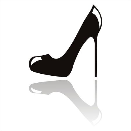 tacones negros: zapato de tac�n negro aislado en blanco Vectores