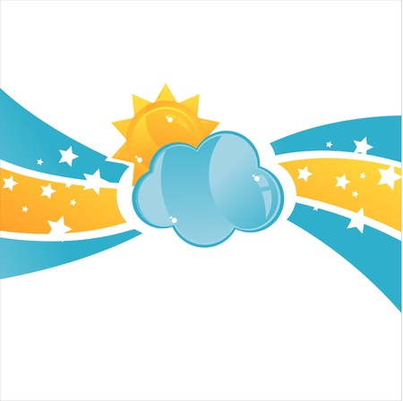 glossy cloud with sun background Vector