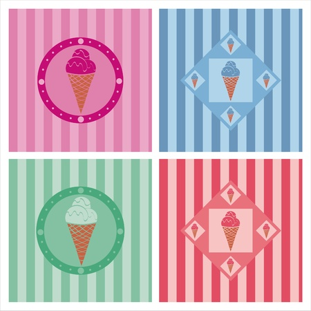 set of 4 cute ice cream backgrounds Stock Vector - 9478025