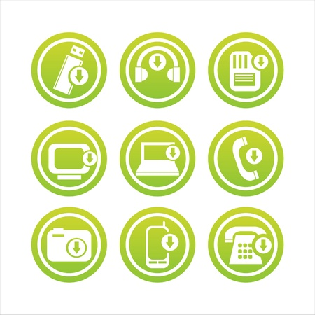 set of 9 green technology with arrows signs Stock Vector - 9478041