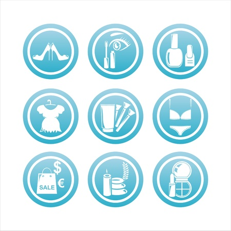 set of 9 blue beauty and fashion signs Stock Vector - 9478050