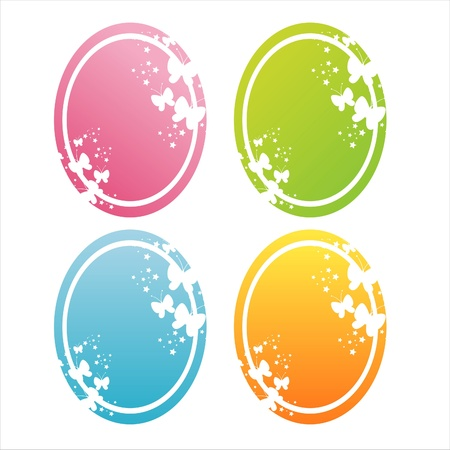 set of 4 colorful butterfly frames Stock Vector - 9582045