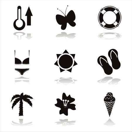 set of 9 black beach icons Vector