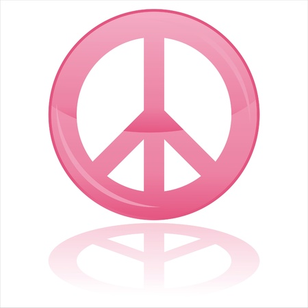 glossy peace symbol isolated on white Vector