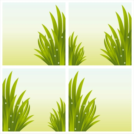 set of 4 shiny fresh grass backgrounds Vector