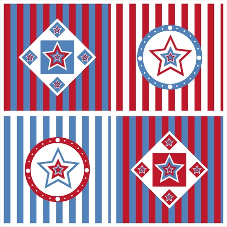 set of 4 cute american colored stars backgrounds Vector