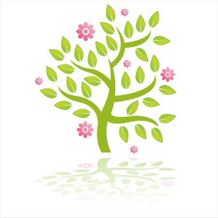 green tree with flowers isolated on white Stock Vector - 9648927
