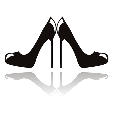 woman shadow: black high heel shoes isolated on white