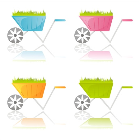 set of 4 colorful garden wheelbarrows Stock Vector - 9691502