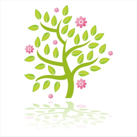 green tree with flowers isolated on white Illustration