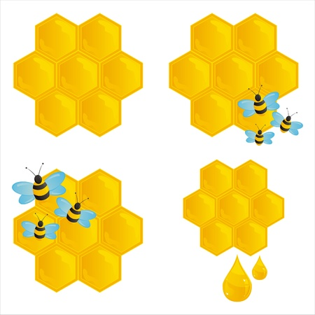 set of 4 honeybombs with bees Stock Vector - 9734735