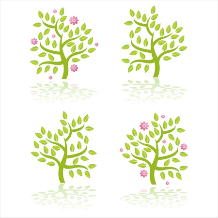 set of 4 trees with flowers Stock Vector - 9734737