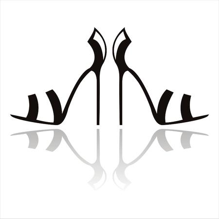 tacones negros: zapatos de tac�n negro aislados en blanco Vectores