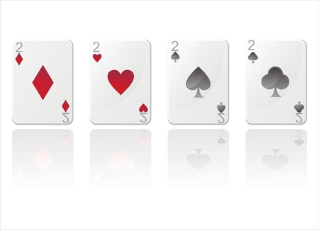 in twos: set of 4 glossy cards with twos