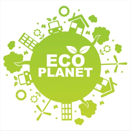 green ecological planet isolated on white Stock Vector - 9899892