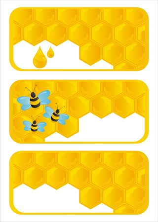 set of 3 honeycombs banners Vector