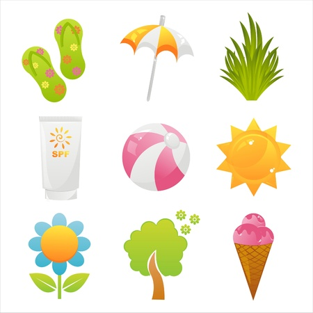 set of 9 colorful summer icons