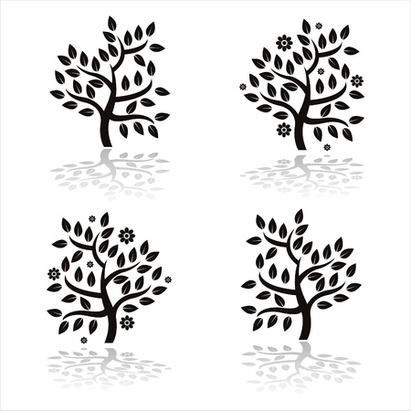 set of 4 black trees silhouettes with flowers