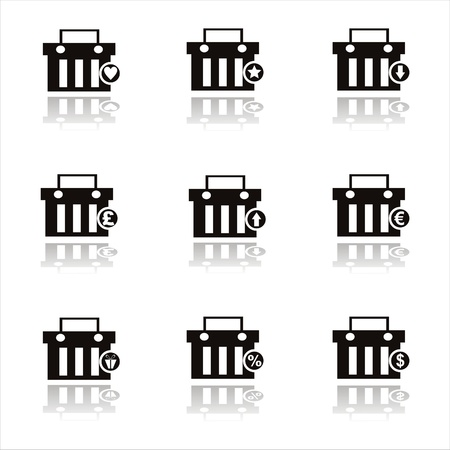 set of 9 black shopping baskets icons Vector