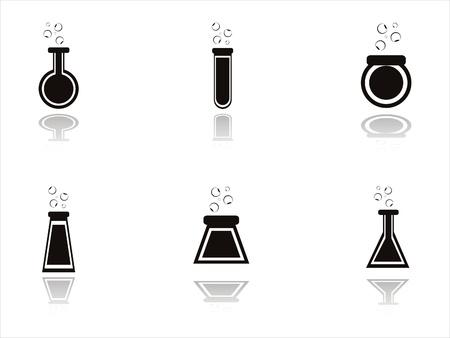 symbole chimique: set de 6 bouteilles chimiques noires ic�nes Illustration