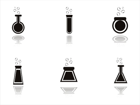 set of 6 black chemical bottles icons