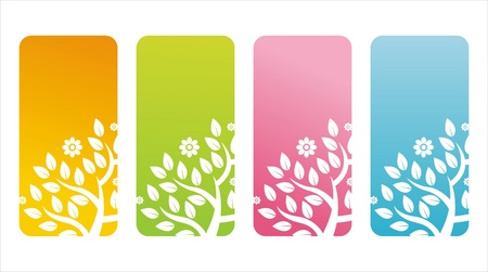 set of 4 colorful floral banners