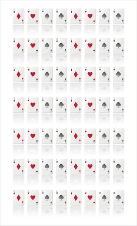 5 6: glossy playing cards isolated on white Illustration