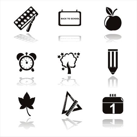 disegni a matita: set di 9 icone scuola nero Vettoriali