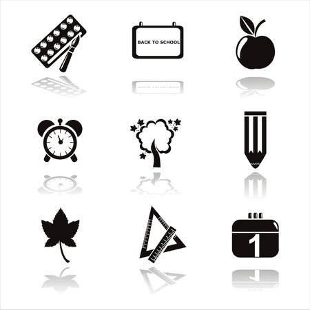 set of 9 black school icons