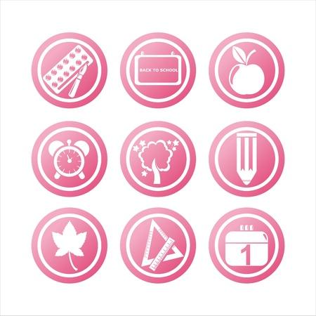 school agenda: conjunto de signos de escuela Rosa 9