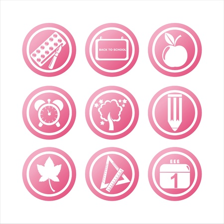 september calendar: set of 9 pink school signs