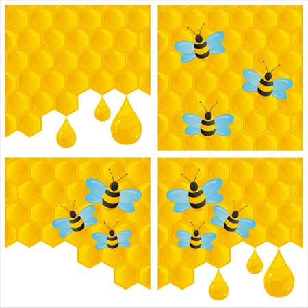 set of 4 honeycombs backgrounds with bees Stock Vector - 10327851
