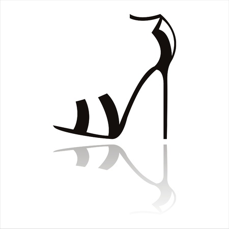 woman legs: black shoes silhouette Illustration