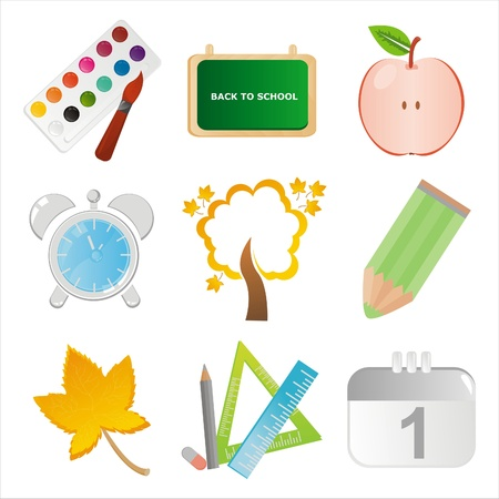 set of 9 colorful school icons Stock Vector - 10353924