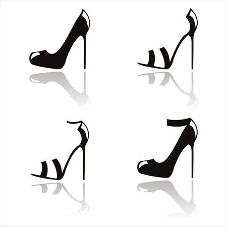 seduction:  set of 4 black shoes silhouettes
