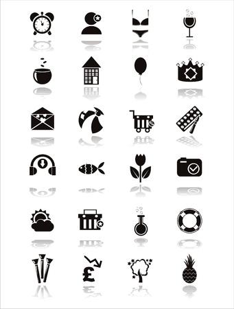 symbole chimique: ensemble de 21 ic�nes web noir