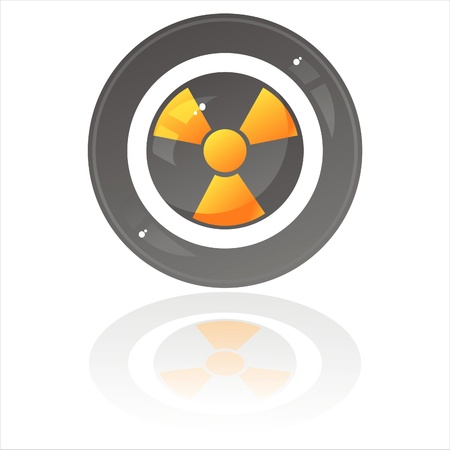 glossy nuclear sign isolated on white Stock Vector - 10454394