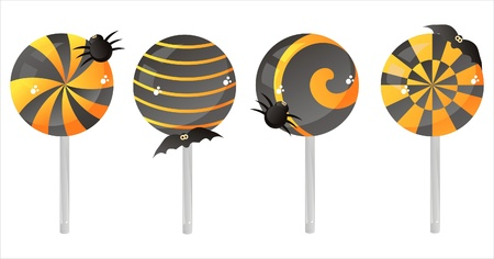 set of 4 halloween lollipops Vector