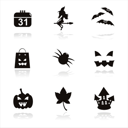 set of 9 black halloween icons Vector