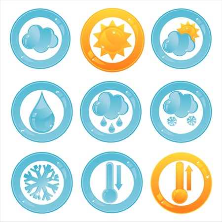 set of 9 glossy weather signs Vector
