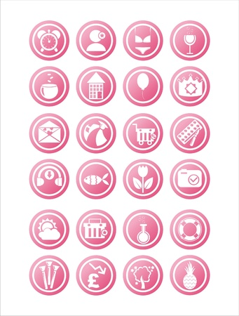 set of 21 pink web signs Vector