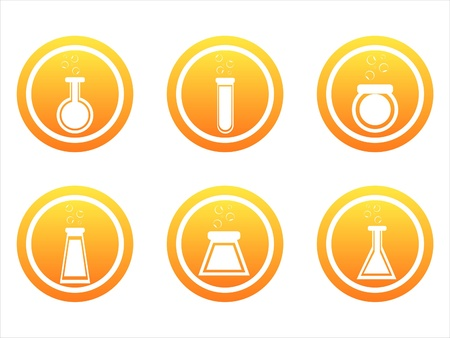 set of 6 orange chemical signs Stock Vector - 10709264
